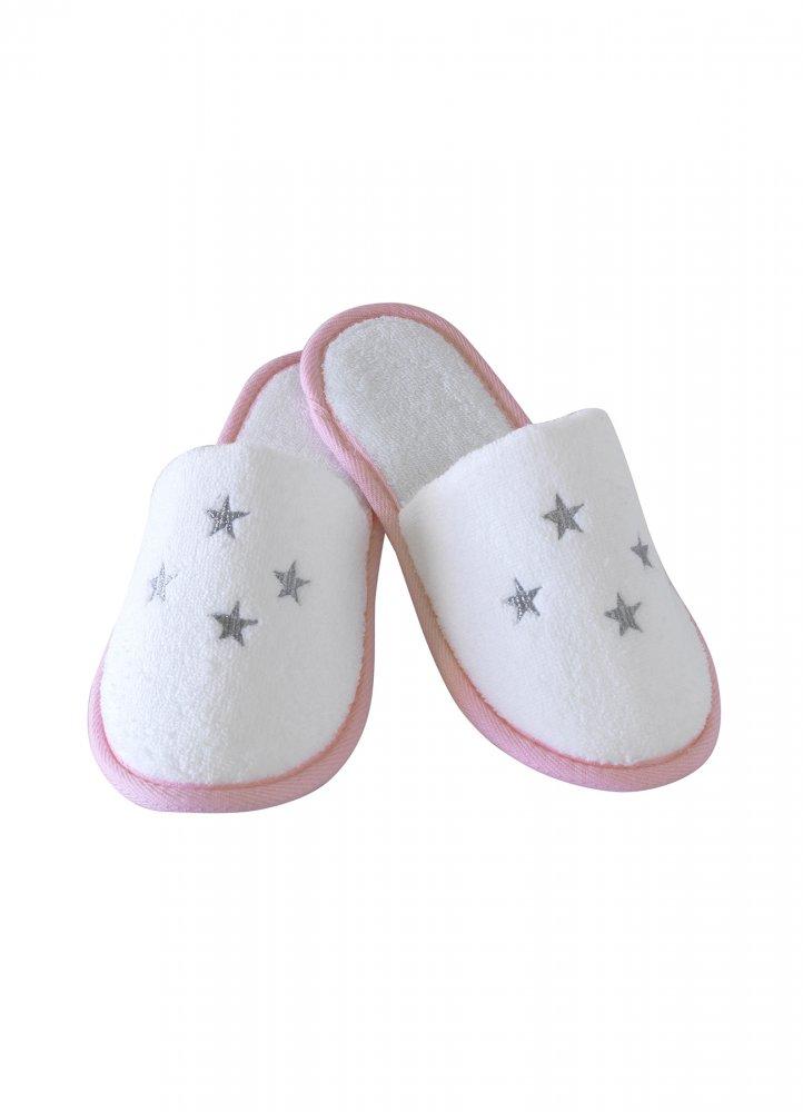 Soft Cotton Dětské pantofle BALLERINA. Dětské pantofle BALLERINA z jemné froté bavlny, zdobené vyšitými hvězdičkami. Pro holky od 2 až 10 let. 8 let (vel.128 cm) Bílá / růžová výšivka