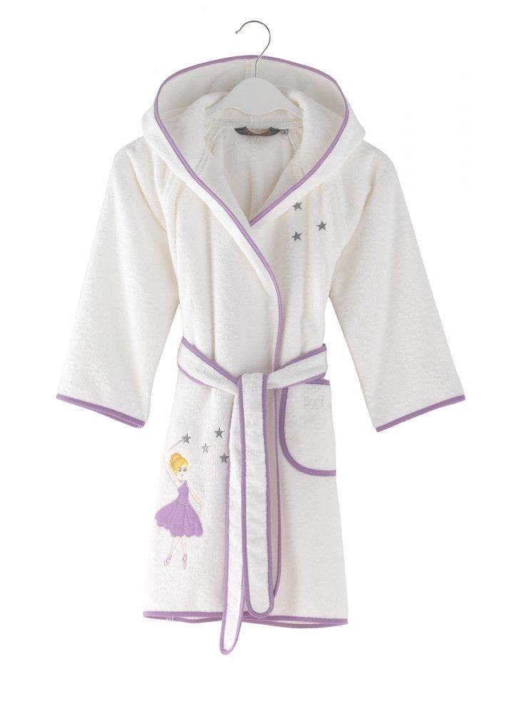 Soft Cotton Dětský župan BALLERINA s kapucí v dárkovém balení. Dívčí župan ze 100% česané bavlny s antibakteriální ochranou a výšivkou balerinky. 2 roky (vel.92 cm) Bílá / lila výšivka