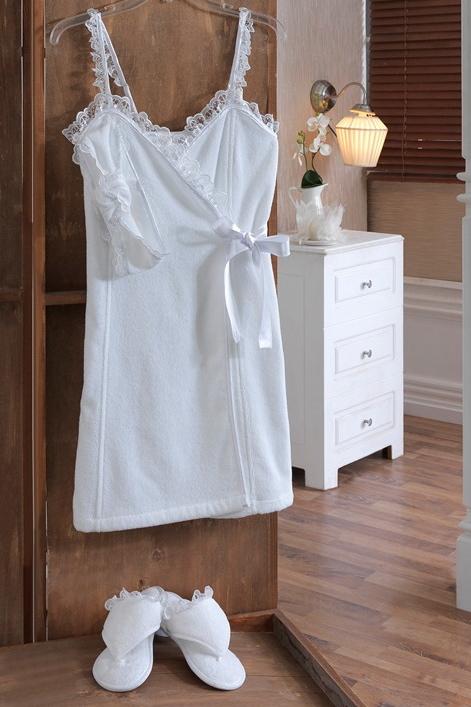 Soft Cotton Dámský SAUNA set LUNA v dárkovém balení, na ramínka, se saténovou stuhou, s krajkou. L Bílá