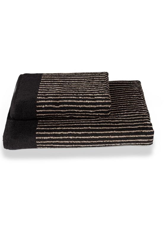 Ručník PLATINUM 50x100 cm Černá / hnědý pruh