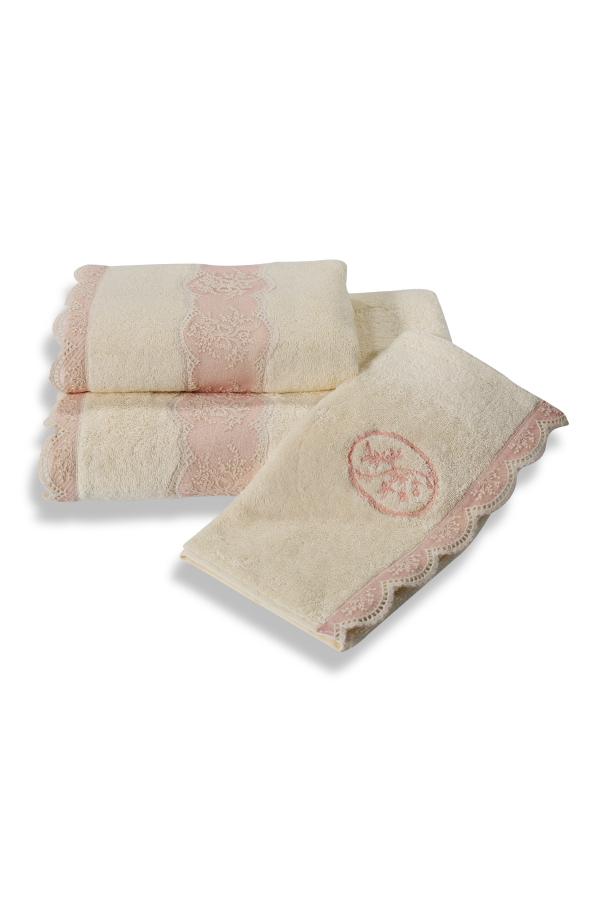 Soft Cotton Luxusní ručník BUKET 50x100 cm. Froté ručník BUKET 50 x 100 cm, vyrobený ze 100% česané bavny a zdobený krajkou je výsledek luxusní řady BUKET. Krémová