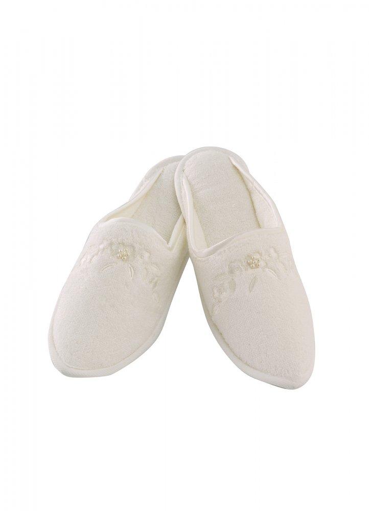 Soft Cotton Dámské bambusové pantofle MASAL. Froté dámské bambusové pantofle MASAL s výšivkou zdobenou perličkami, ve velikostech 26cm a 28cm. 28 cm (vel. 38/40) Smetanová