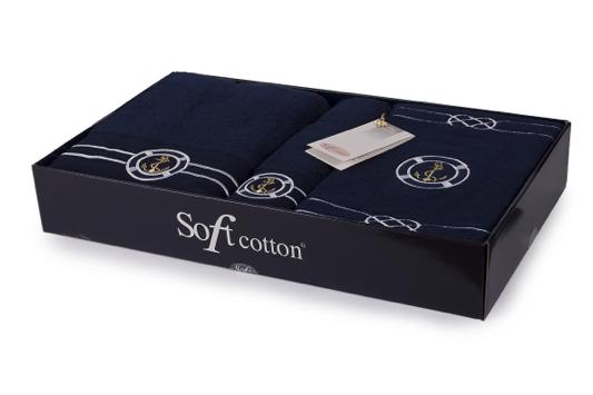 Soft Cotton Dárková sada ručníků a osušek MARINE. Krásně měkké na pokožce a vysoce absorbční - takové jsou vlastnosti ručníků a osušek. Tmavě modrá