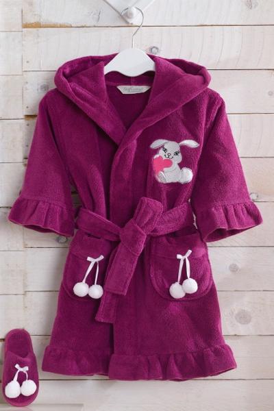 Soft Cotton Dětský župan BUNNY v dárkovém balení s papučkami. Dívčí župan s kapucí a roztomilou výšivkou. 2 roky (vel.92 cm) Malinová