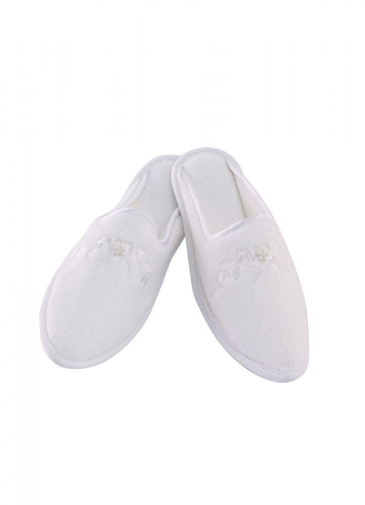 Soft Cotton Dámské bambusové pantofle MASAL. Froté dámské bambusové pantofle MASAL s výšivkou zdobenou perličkami, ve velikostech 26cm a 28cm. 28 cm (vel. 38/40) Bílá