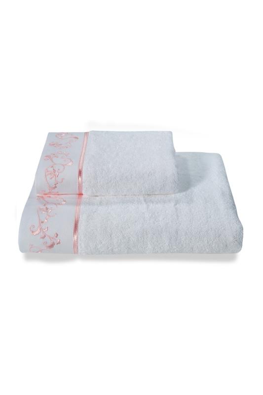 Soft Cotton Osuška RENGIN 85x150 cm. Froté osuška RENGIN 85 x 150 cm s výšivkou, ze 100% česané bavlny. Pro moderní a stylové ženy, které milují po koupeli hebkou a jemnou osušku. Bílá / růžová výšivka