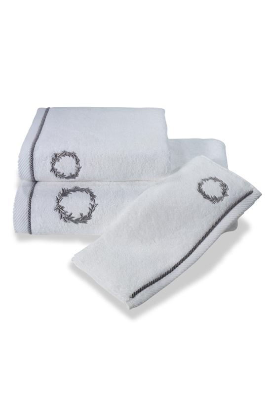 Soft Cotton Malý ručník SEHZADE 32x50 cm. Atraktivní, velice hebký malý obličejový ručník SEHZADE s nápaditou výšivkou je to, co hledáte pro pány. Bílá / stříbrná výšivka