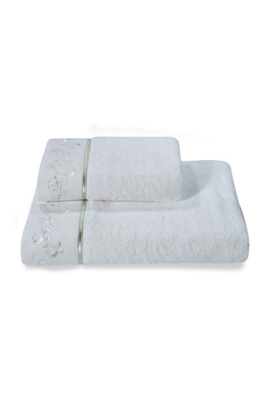 Soft Cotton Malý ručník RENGIN 32x50 cm. Moderní a romantické bílé malé ručníky 32x 50 cm, zdobené barevnou výšivkou. Bílá / mentolová výšivka