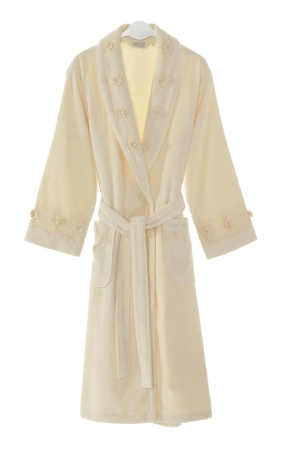 Soft Cotton Luxusní dámský župan YONCA v dárkovém balení. Dlouhý teplý dámský župan s šálovým límcem a dlouhým rukávem. Zdobený. S Krémová
