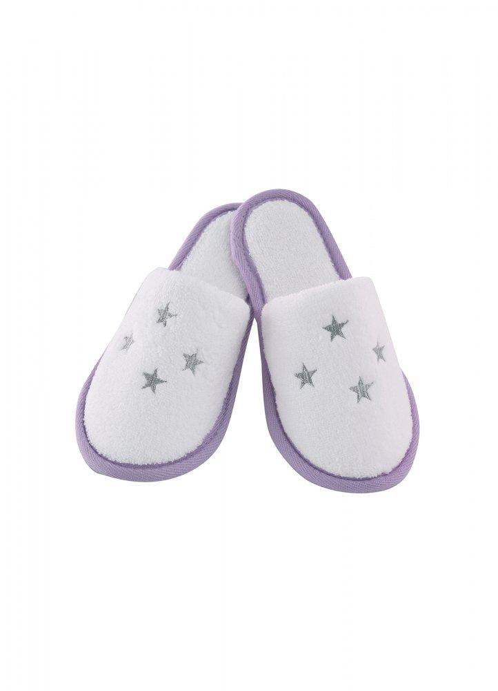 Soft Cotton Dětské pantofle BALLERINA. Dětské pantofle BALLERINA z jemné froté bavlny, zdobené vyšitými hvězdičkami. Pro holky od 2 až 10 let. 8 let (vel.128 cm) Bílá / lila výšivka