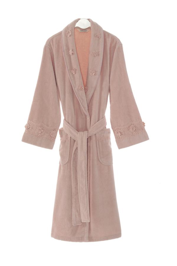 Soft Cotton Luxusní dámský župan YONCA v dárkovém balení. Dlouhý teplý dámský župan s šálovým límcem a dlouhým rukávem. Zdobený. S Starorůžová