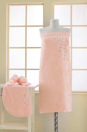 Soft Cotton Dámský bambusový SAUNA set RUYA v dárkovém balení, s pantoflemi a turbanem na hlavu. Župan, turban i papučky zdobí překrásný a jemný květinový motiv v podobě výšivky. Univerzální velikost + pantofle 28cm Růžová