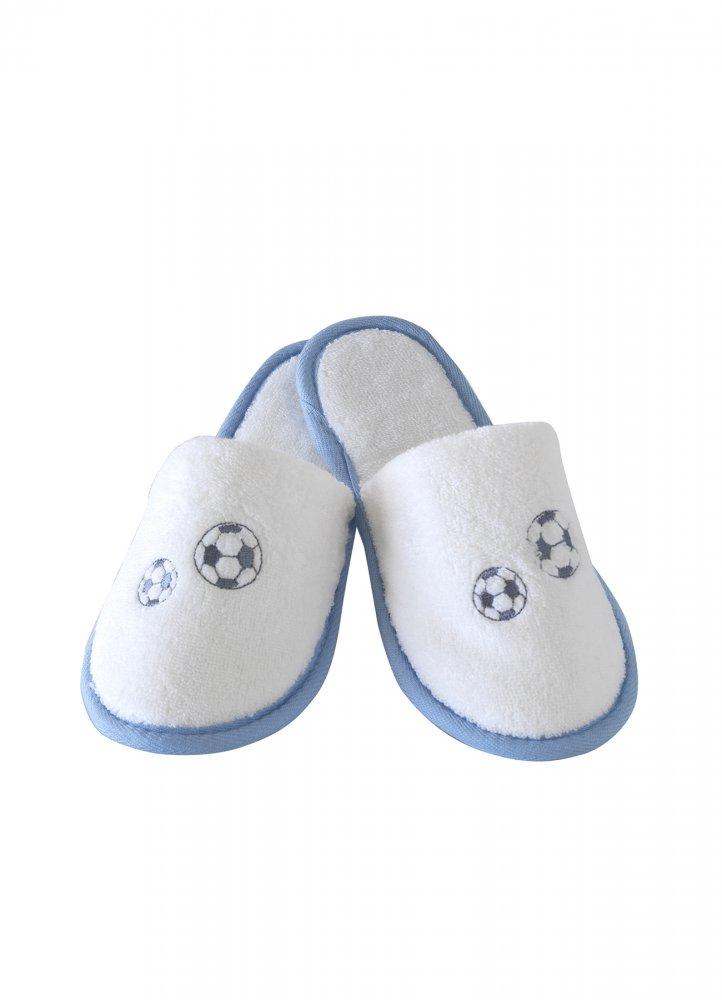 Soft Cotton Dětské pantofle FOOTBALLER. Dětské pantofle FOOTBALLER z jemné froté bavlny, zdobené výšivkou fotbalového míče. Pro kluky od 2 až 10 let. 8 let (vel.128 cm) Bílá / modrá výšivka