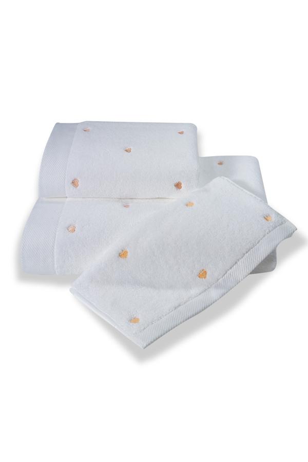 Soft Coton Ručník MICRO LOVE 50x100 cm. Luxusní froté ručníky MICRO LOVE 50x100 cm ze 100% česané Micro bavlny - mikrovlákna. Velice jemné, savé a rychleschnoucí. Bílá / lososové srdíčka
