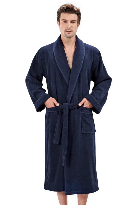 Soft Cotton Pánský župan LORD. Dlouhý pánský savý froté župan s šálovým límcem. XXL Tmavě modrá