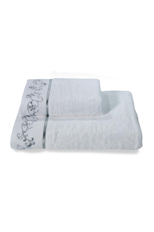 Soft Cotton Osuška RENGIN 85x150 cm. Froté osuška RENGIN 85 x 150 cm s výšivkou, ze 100% česané bavlny. Pro moderní a stylové ženy, které milují po koupeli hebkou a jemnou osušku. Bílá / šedá výšivka