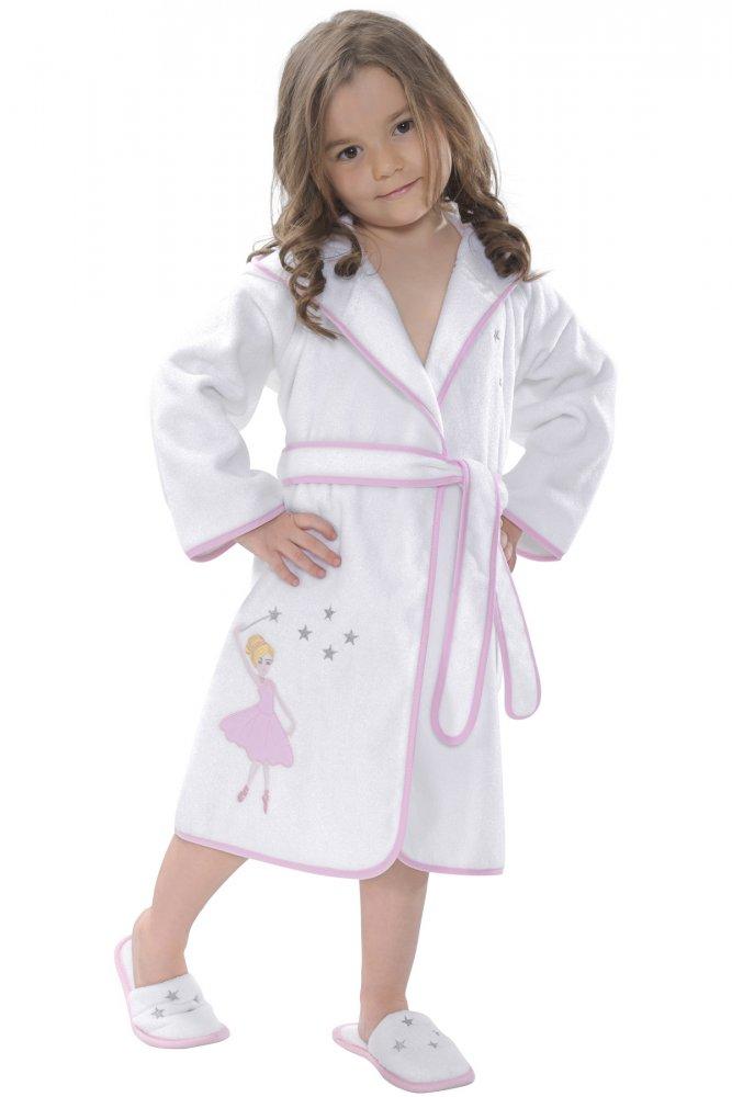 Soft Cotton Dětský župan BALLERINA s kapucí v dárkovém balení. Dívčí župan ze 100% česané bavlny s antibakteriální ochranou a výšivkou balerinky. 2 roky (vel.92 cm) Bílá / růžová výšivka