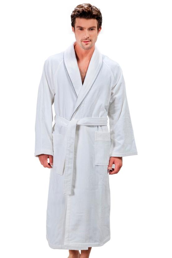 Soft Cotton Luxusní pánský velurový župan SHARP v dárkovém boxu. Dlouhý pánský župan s šálovým límcem ze střižené bavlny s antibakteriální ochranou. S Bílá