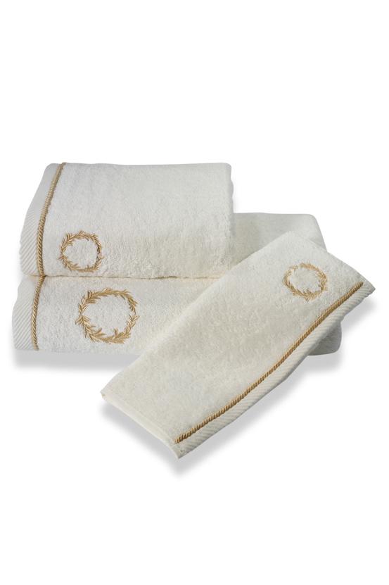 Soft Cotton Malý ručník SEHZADE 32x50 cm. Atraktivní, velice hebký malý obličejový ručník SEHZADE s nápaditou výšivkou je to, co hledáte pro pány. Smetanová / zlatá výšivka