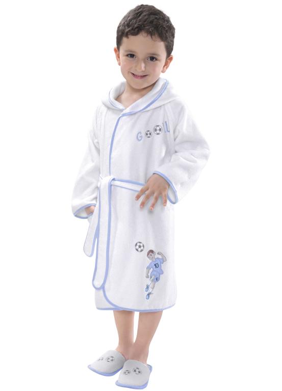 Soft Cotton Dětský župan FOOTBALLER s kapucí v dárkovém balení. Teplý chlapecký župan ze 100% česané bavlny. 2 roky (vel.92 cm) Bílá / modrá výšivka