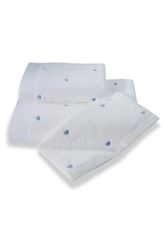 Soft Coton Ručník MICRO LOVE 50x100 cm. Luxusní froté ručníky MICRO LOVE 50x100 cm ze 100% česané Micro bavlny - mikrovlákna. Velice jemné, savé a rychleschnoucí. Bílá / modré srdíčka