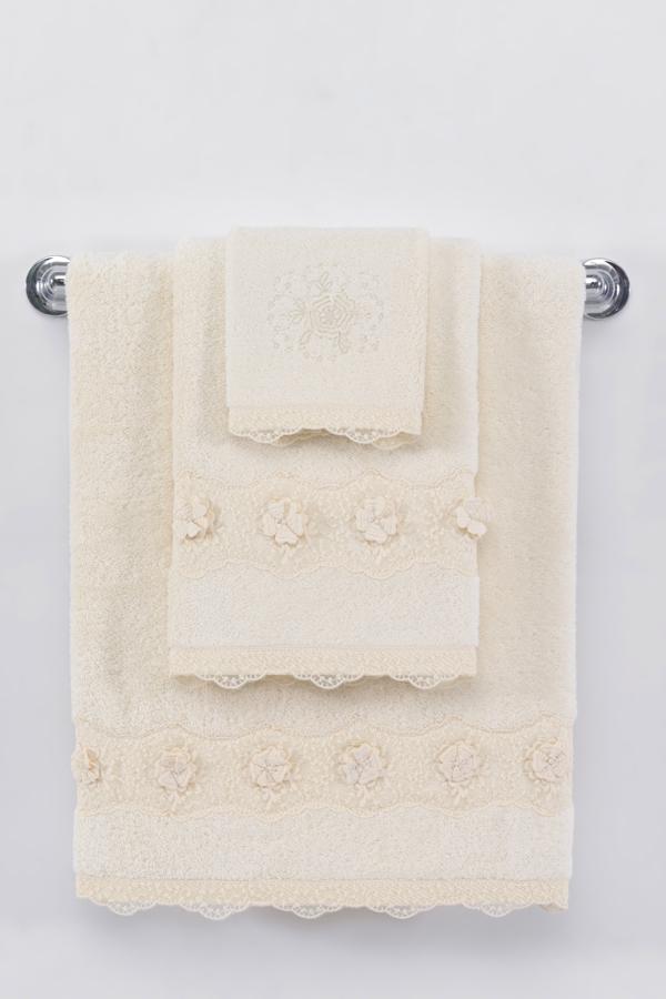 Soft Cotton Luxusní osuška YONCA 85x150 cm. Osuška YONCA výborně saje vlhkost, je dostatečně velká a velmi šetrná k pokožce. Její rozměry jsou 150 x 85 cm, gramáž je 580 g/m2. Krémová