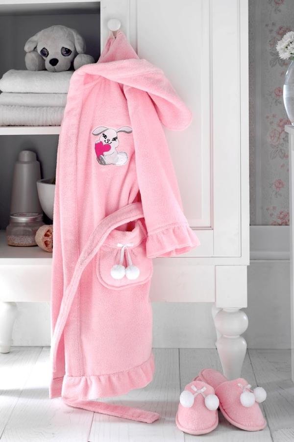 Soft Cotton Dětský župan BUNNY v dárkovém balení s papučkami. Dívčí župan s kapucí a roztomilou výšivkou. 2 roky (vel.92 cm) Růžová