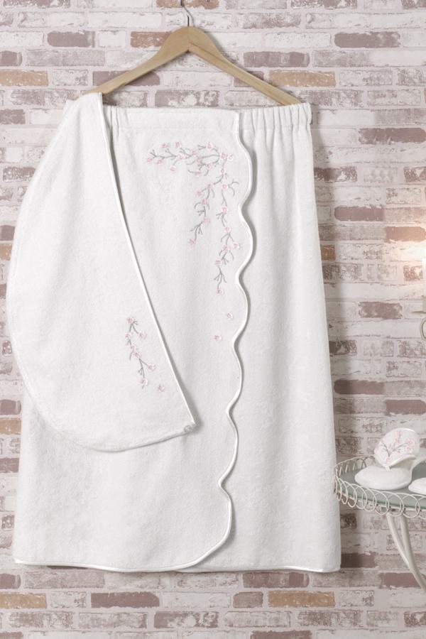 Soft Cotton Dámský bambusový SAUNA set RUYA v dárkovém balení, s pantoflemi a turbanem na hlavu. Župan, turban i papučky zdobí překrásný a jemný květinový motiv v podobě výšivky. Univerzální velikost + pantofle 28cm Smetanová